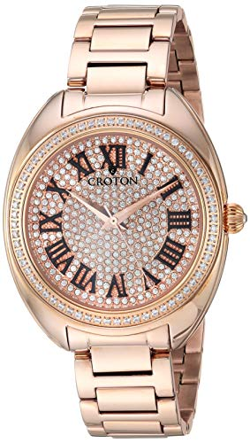 CROTON Women's Crystal Quartz Watch with Stainless-Steel Strap, Rose Gold, 16.7 (Model: CN207564RGPV) Croton Womens Quartz Stone