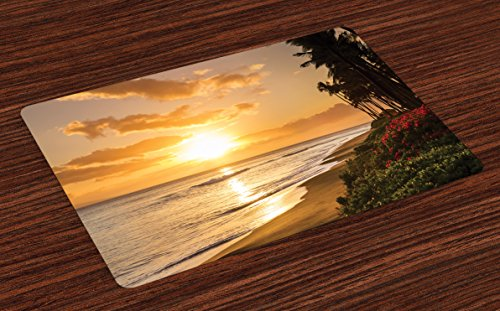 Ambesonne Hawaiian Place Mats Set of 4, Warm Tropical Sunset on Sands of Kaanapali Beach in Maui Hawaii Traveling, Washable Fabric Placemats for Dining Table, Standard Size, Cream Ivory