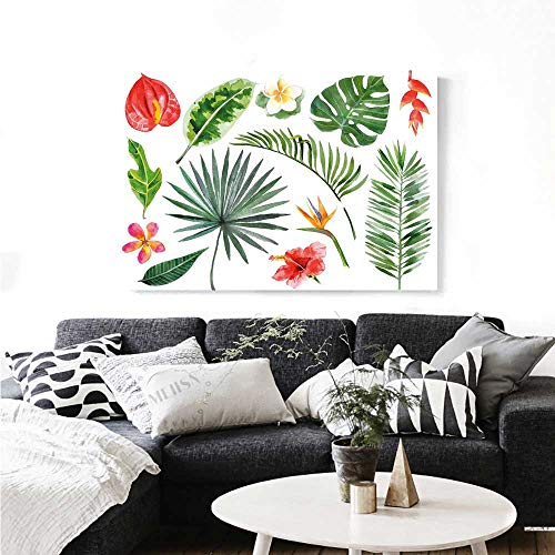 Warm Family Plant The Picture for Home Decoration Diverse Collection of Leaves and Flowers from Tropical Lands Heliconia Philodendron Customizable Wall Stickers 36