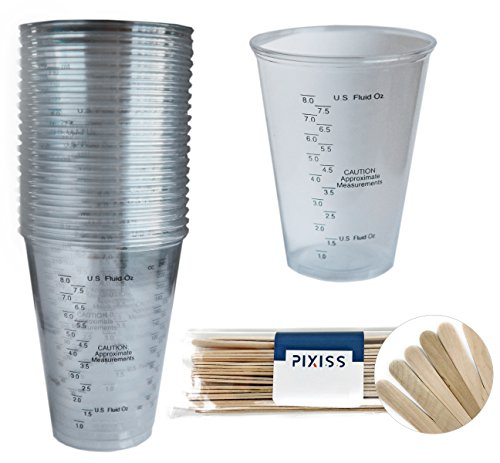 20 x 10oz Disposable Graduated Clear Plastic Cups for Mixing Paint, Stain, Epoxy, Resin, 20 x 6-inch Pixiss Stix Wood Mixing Sticks