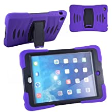 Xtra-Funky Exclusive iPad Mini 1& 2 Heavy Duty Dual Layer Silicon and Plastic Shock Absorbing Ultimate Protective Case with Built in Stand and Protective Screen layer - PURPLE