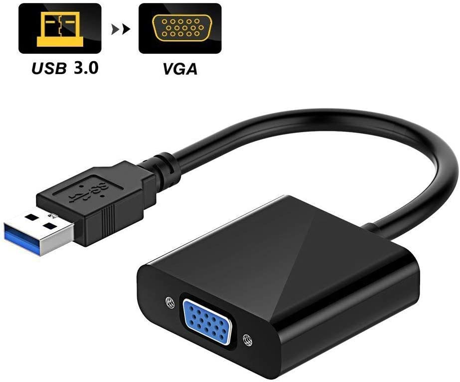 USB to VGA Adapter, USB 3.0/2.0 to VGA Adapter Multi-Display Video Converter- PC Laptop Windows 7/8/8.1/10,Desktop, Laptop, PC, Monitor, Projector, HDTV, Chromebook. No Need CD Driver. (Black)
