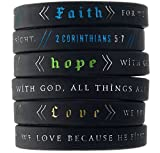 Inkstone Faith, Hope, Love Wristbands w/Bible Verses (6-pack) - Unisex Adult Size for Men Women Teens