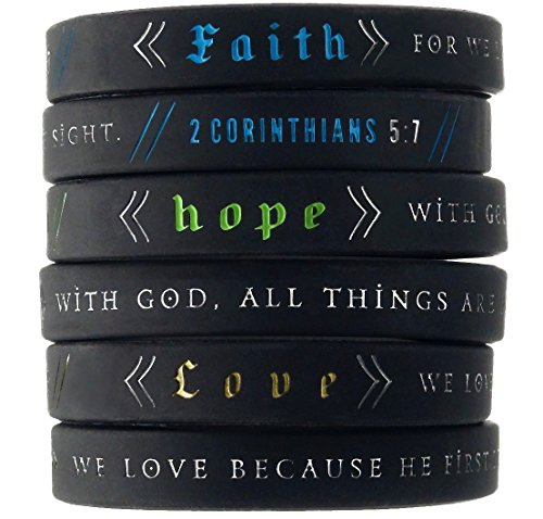 Inkstone Faith, Hope, Love Wristbands w/Bible Verses (6-pack) - Unisex Adult Size for Men Women -