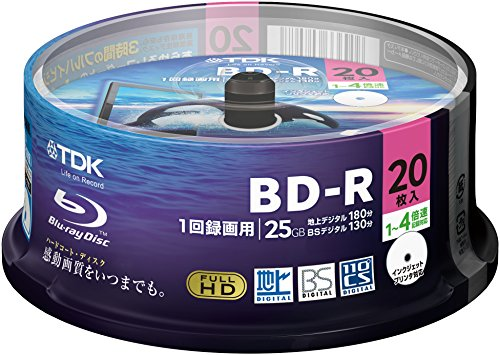 20 TDK Bluray Disc LTH 25gb Bd-r 4x Speed Blu Ray Dvd Discs Inkjet Printable