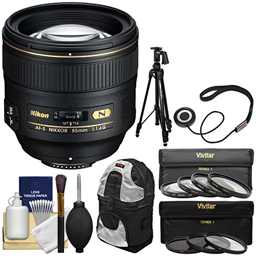 Nikon D2h Set - Nikon 85mm f/1.4 G AF-S Nikkor Lens with Backpack + Tripod + UV/CPL/ND8 & Macro Filter Kit for D3200, D3300, D5300, D5500, D7100, D7200, D610, D750, D810, D4s Camera