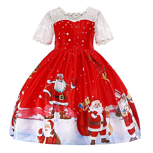Toddler Santa Claus Dresses, Christmas Princess Dress for Baby Girls Short Sleeve Outfits—[12M-7T] -