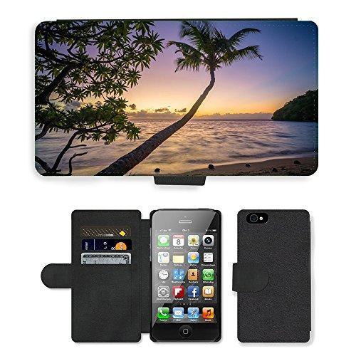 PU Leather Cover Custodia per // M00421723 Beach Palm Trees Ocean Sea Soirée // Apple iPhone 4 4S 4G