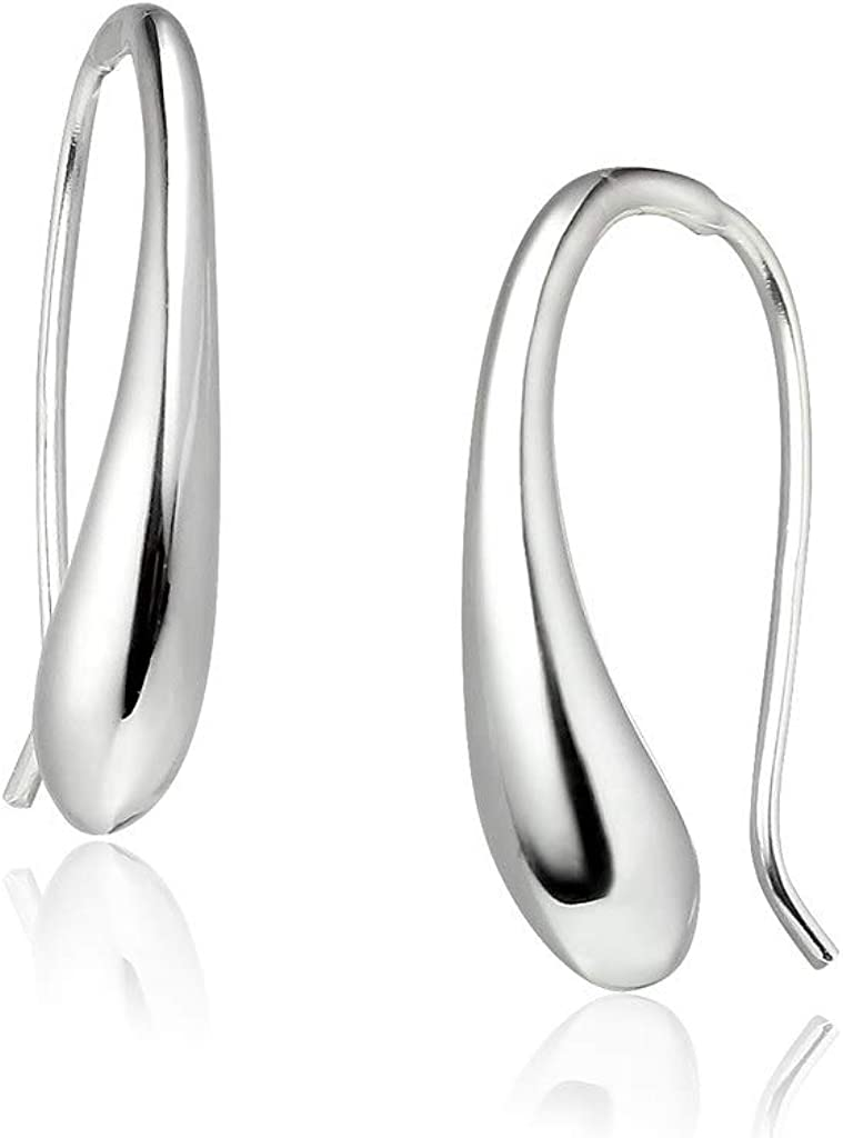 Big Apple Hoops - High Polish Sterling Silver Classic Hollow Puffed Teardrop Threader Dangle Earrings Made from Genuine Solid 925 Sterling Silver in 3 Color Silver, Gold, Rose for Men, Teens, Women