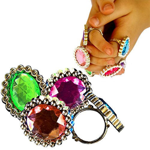 For Kids Pinata Costume (Ring Jewelry - Pack of 24 Adorable Pretend Play Large Gemstone Rings | Manufactured by Toy Cubby | Dress Up Your Little Princess Party Favor Supply Costume)