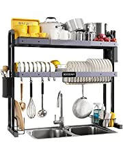 Over Sink Dish Drying Rack, Boosiny 2 Tier Stainless Steel Expandable Kitchen Dish Rack (27.5'' - 33.5''), Adjustable Large Dish Drainer Shelf with Utensil Holder, Over the Sink Storage Rack Organizer