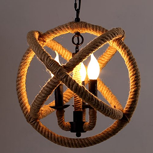 Pendant Light, BAYCHEER HL432344 Industrial Retro Style Metal Hemp Rope Globe Cage Round Pendant Lamp Chandelier with 3 E12 bulbs