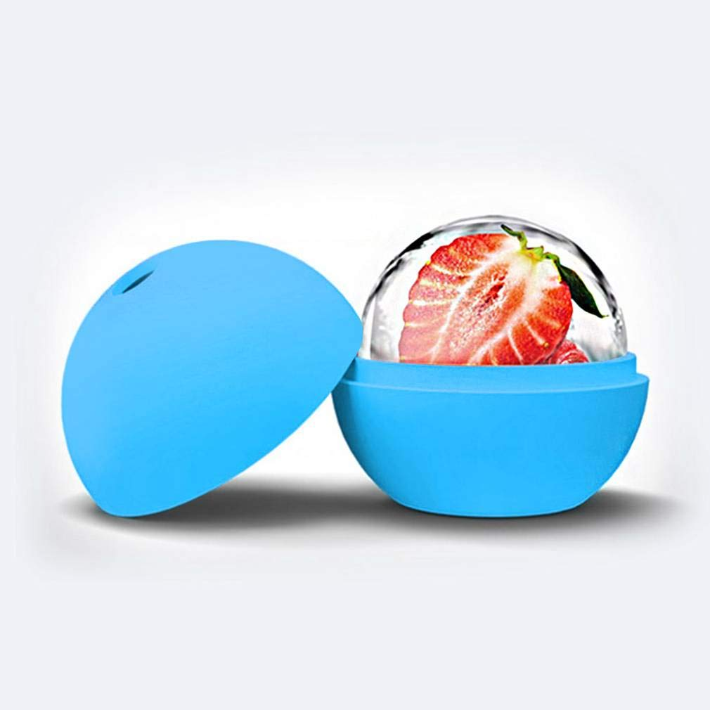 LIShuai 2.5 inch Silicone Ice Ball Maker Mold Sphere Large Tray Whiskey DIY Mould (Blue,One Size)