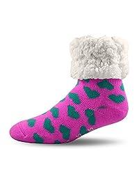 Pudus Unisex Classic Slipper Socks, Adult, Hearts Pink