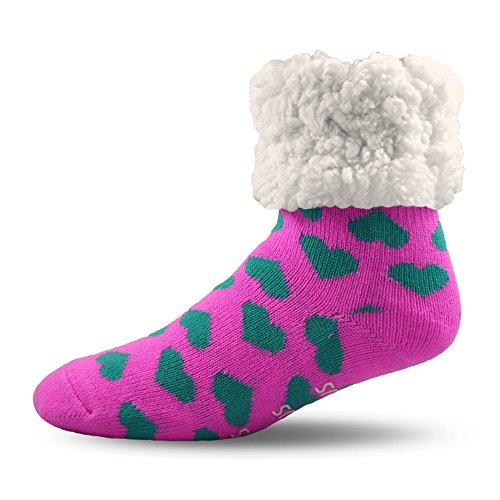 Pudus Heart Pink Cozy Winter Slipper Socks for Women and Men with Non-Slip Grippers and Faux Fur Sherpa Fleece - Adult Regular Fuzzy Socks