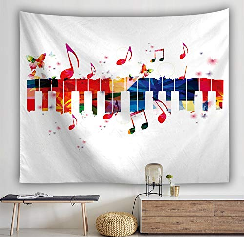 (LJTSDA Colorful Tapestry Painting Beach Towel Musical Notes Music Background Wall Instrument Trend Personality Hip Hop Wind Decoration,XL,200X150Cm)
