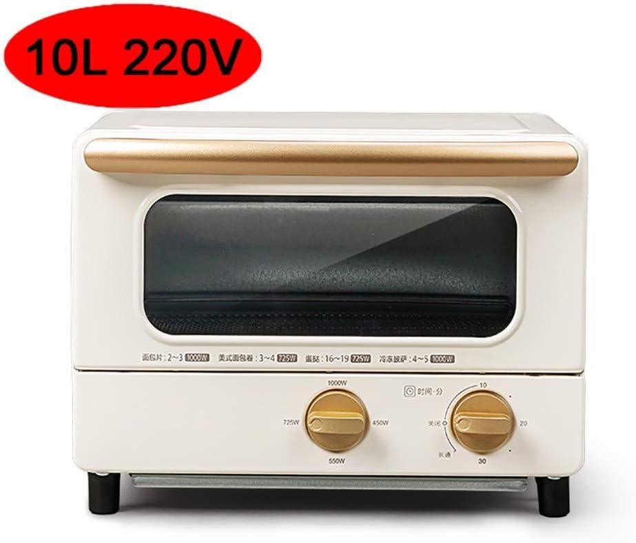 Horno eléctrico doméstico pequeño 10L, tostador eléctrico escritorio multifuncional para hornear, 4 secciones ajuste potencia fuego, control tiempo 30 minutos, es un buen ayudante para su cocina,