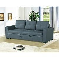 Polyfiber Fabric Convertible Sofa In Gray