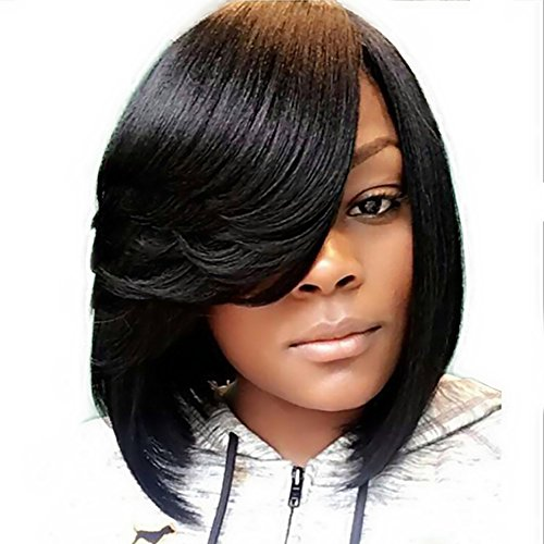 Search : SCENTW Short Pixie Cut Bob Synthetic Wigs for Women Heat Resistant Costume African American Wigs with Side Bangs Natural Brown Full Wigs Look Real+Free Wig Cap (Black)