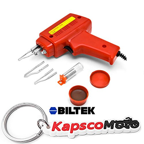 100w Ul Soldering Gun (Biltek NEW 7pc Soldering Gun Kit w/Case Iron Solder 100W Professional Style Flux Solder + KapscoMoto Keychain)