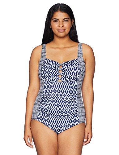 Amazon Brand - Coastal Blue Women's Plus Size Control Swimwear Lattice Detail One Piece Swimsuit, Diamond Daze, 2X