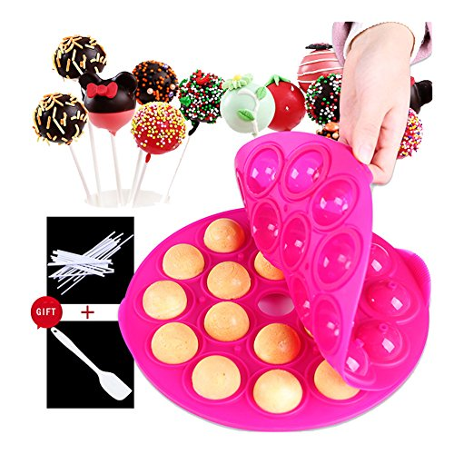 (KALAIEN Round Silicone Soap Candy Molds Chocolate Lollipop Mold Ball Shape Homemade Baking Mold 18 Cavities with Sticks, Muffin Paper, Mini Scraper(Diameter: 9.8