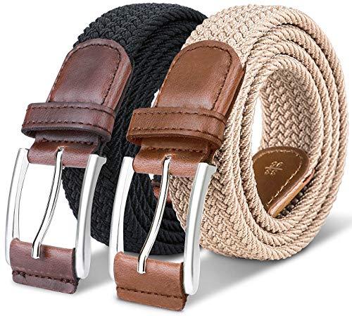 Stretch Belt Men,Bulliant Mens Woven Stretch Braided Belt 1 3/8,2 Unit Gift Packed