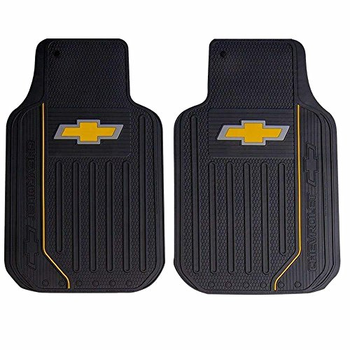 (U.A.A. INC. Chevy Chevrolet Elite Style 2pc Front Black Rubber Universal Car Truck Floor Mats Set)