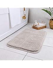 Carvapet Non-Slip Bathroom Rug High Water Absorbent Bath Mat Microfiber Soft Plush Shaggy Bath Rug, 20 by 32 inches, Light Gray