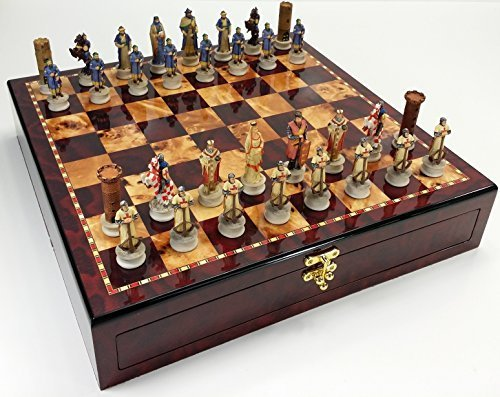 Medieval Times Crusades Arabian vs Christian Knights Chess Set W/ High Gloss Cherry & Burlwood Color Storage Board 17