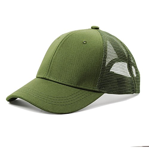 JAKY Global Ponytail Cap Messy Trucker Adjustable Visor Baseball Cap Hat Unisex (Army Green)