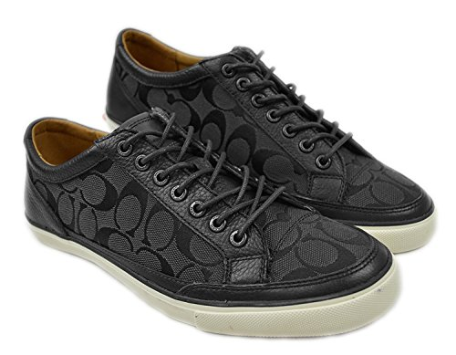 Coach New York Men's Q6129 Monogram & Leather Casual Sneakers Black/Grey 11.5 D US - Mens Coach Sneakers