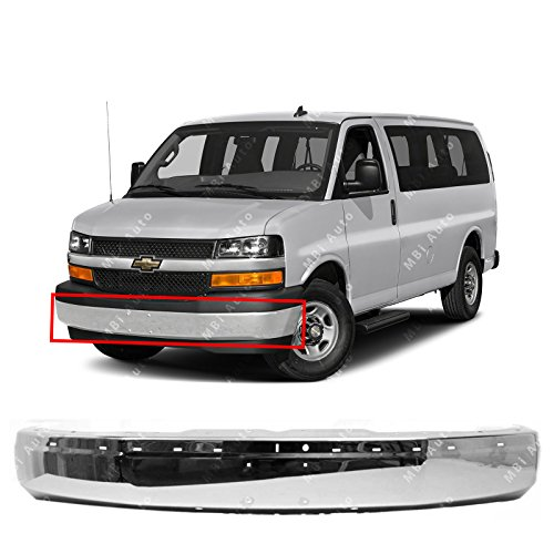 (MBI AUTO - Chrome, Steel Front Bumper Face Bar Shell for 2003-2018 Chevy Express & GMC Savana Van 03-17, GM1002459 )