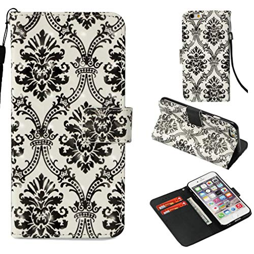 iPhone 6S Plus Case,Shock Absorbent Pu Leather Kickstand Wallet Case Inner Soft Silicone Bumper Full Cover Protective Flip Folio Shell Wrist Strap Apple iPhone 6S Plus -Black (Logic Front Shocks)