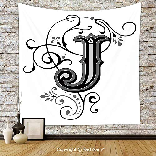 FashSam Hanging Tapestries Shabby Chic Classic Written Medieval Initials J Royal Noble Family Character Decorative Wall Blanket for Living Room Dorm Decor(W59xL90)