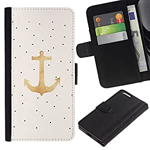 EuroTech - Apple Iphone 6 PLUS 5.5 - Polka Dot Anchor Gold Seaman Sailboat - Cuero PU Delgado caso Billetera cubierta Shell Armor Funda Case Cover Wallet Credit Card