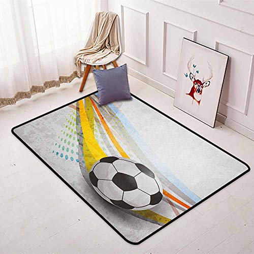 Teen Room 3D Printed Round Carpet Soccer Background with Football Colorful Lines Sports Game with Digital Display for Partial Areas W47.2 x L63 Inch Multicolor ()