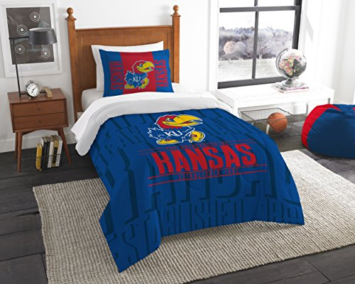 (Northwest Officially Licensed NCAA Kansas Jayhawks Modern Take Twin Comforter and Sham)