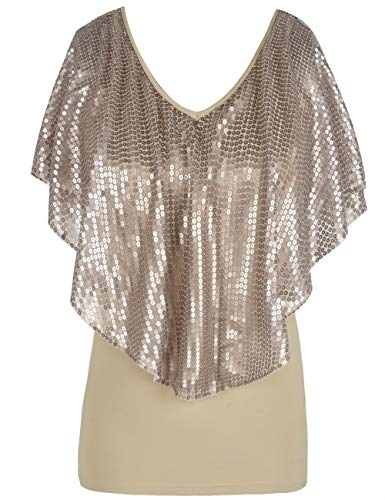 kayamiya Women's Sequin Blouse Glitter Drape Short Sleeve Sparkly Cocktail Party Tops M/US8-10 Champagne
