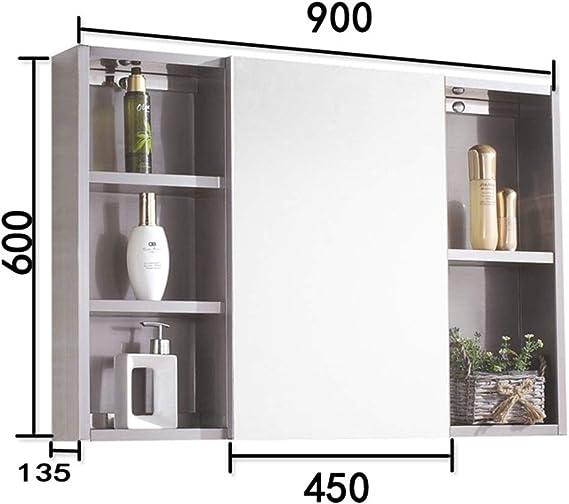 Gabinete De Pared Espejo De Baño Botiquín Con Espejo Gabinete De Almacenamiento De Baño For Montaje En Superficie O Empotrada Adecuado Para Lavadero De BañO (Color : Silver , Size :