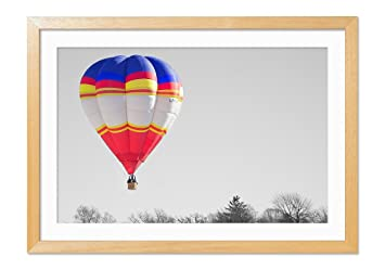 Amazoncom Hot Air Balloon Wood Color Frame Art Print Poster Home
