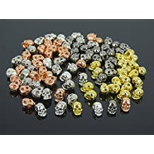 jennysun2010 Side Drilled Metal Skull Bracelet Necklace Earring Craft Connector Charm Beads Randomly Mixed 20pcs per Bag for Bracelet Necklace Earrings Jewelry Making Crafts Design