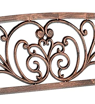 Blooming Patio Garden Bench Park Yard Outdoor Furniture, Iron Metal Frame, Elegant Bronze Finish, Sturdy Durable Construction, Scrollwork Design, Easy Assembly 50 L x 17 1/2 W x 34 1/2 H