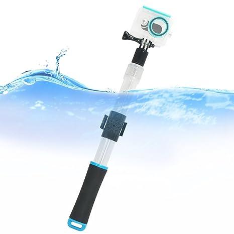 First2savvv azul Transparente Material del flotador extensión flotante Extensible selfie Polo Monopod con el clip de montaje remoto para GoPro ...