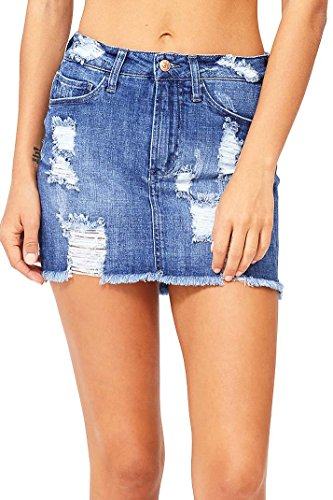 Jean Denim Skirt Mini Distressed - Celebrity Pink Women's Juniors Mid Waist Distressed Denim Mini Skirt (9, Denim)