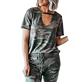 2019 Fashion Women Summer Casual Camouflage Printed T-Shirt V-Neck Short Sleeve Looose Tops Blouse Green(S-XL) (Green, XL)