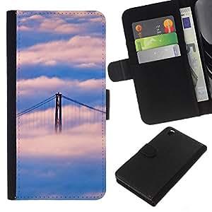 Stuss Case / Funda Carcasa PU de Cuero - Naturaleza Puente de San Francisco Nube - HTC DESIRE 816