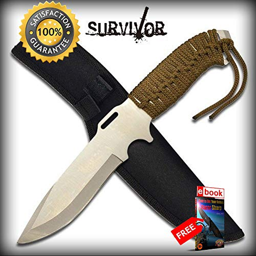 11.5'' Silver Full Tang Army Green Cord-Wrapped Survival SHARP KNIFE with Sheath Combat Tactical Knife + eBOOK by Moon Knives (Silver Wrapped Pillar)