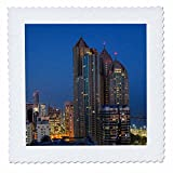 3dRose Danita Delimont - Cities - UAE, Abu Dhabi. Cityscape seen from Corniche Road East - 14x14 inch quilt square (qs_277128_5)