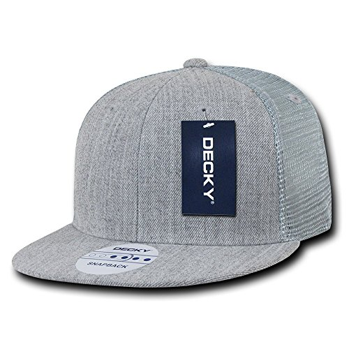 Flat Hat Bill - DECKY 6 Panel Flat Bill Trucker Cap, Heather Grey